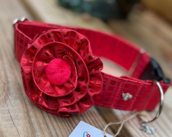 Red Fabric Dog Collar, Christmas Collar For Dogs with Flower or Bow Tie, Christmas Dog Collars, Festive, South Carolina Dogs, Cotton Collar