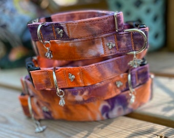 Tie Dye Clemson Dog Collar, Orange And Purple Fabric Collars for DOGS, Ice Dye, Hand Dyed, Unique Collar