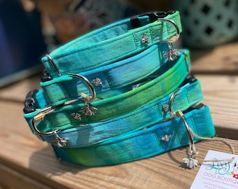 Turquoise Tie Dye DOG Collar, Aqua, Turquoise Blue and Lime Green Collar for Dogs, Pet Accessories, Dog Collars, Fabric Hand Dyed, Ice Dye