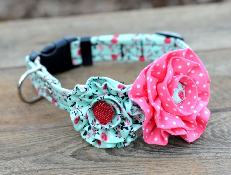 Mint Green And Pink Floral DOG COLLAR SET Dog Accessories image 0