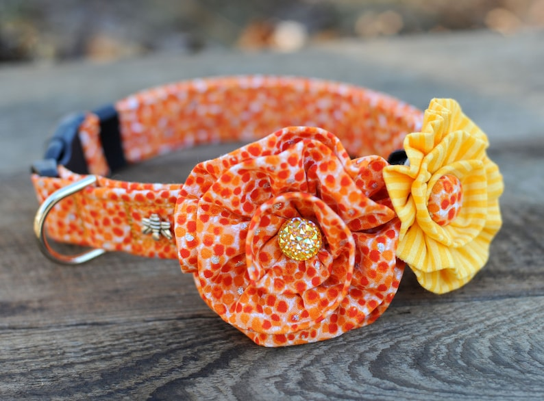 Orange Polka Dot DOG COLLAR  SET With Two Flowers  Or Just image 0