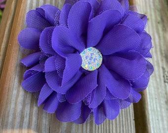 Purple Dog Collar Flower, Large Chiffon Flower for Dog Collars with sparkly centerpiece, Dog Accessories, Dog Collar Flowers, Jumbo flower