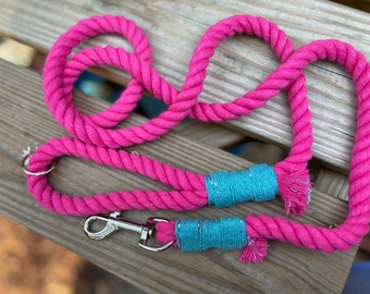 Hot Pink Rope Leash For Dogs, Braided Cotton Rope Leash for Dogs, Dog Leashes, Dog Accessories