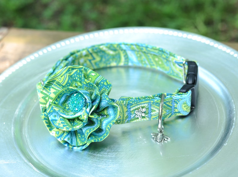 Teal Blue & Lime Green Paisley DOG COLLAR with Flower Dog image 0