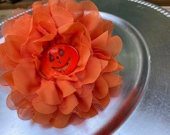 "Orange Dog Collar Flower. Halloween. Pumpkin or sparkly Clear Center. 4.25"" Wide. Chiffon with Velcro. Flowers"
