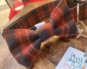 Fall Plaid Dog Collar And Bow Tie, Fabric Brown and Navy Plaid Collar For Dogs, Dog Bow Tie, Dog Collars, Dog Accessories