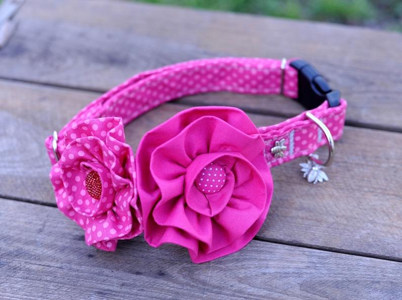 Pink Polka Dot Dog Collar Set  Flowers Dog Collars Dog image 0