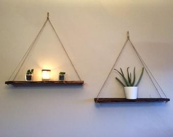 Large Wooden Rustic Hanging Rope Shelf, Display shelf, Wall Display, Shabby chic, Rustic Wall Shelf, Swing shelf, Bohemian style, nordic