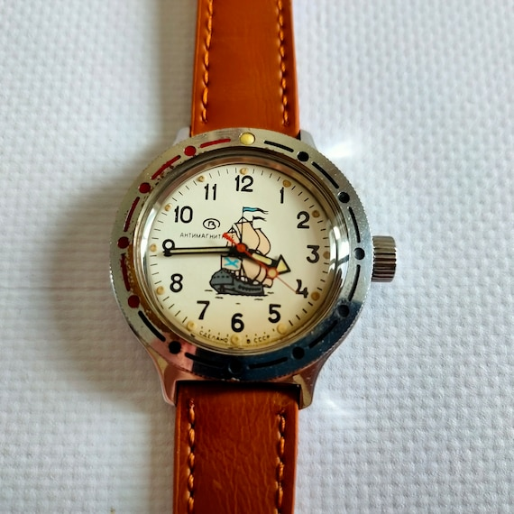 Vostok Amphibian watch with ships, Vintage Watch,