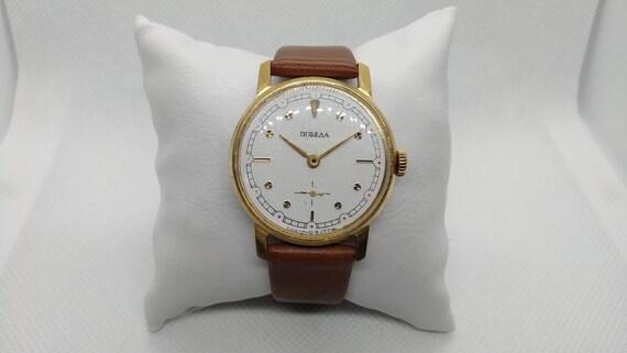Soviet watch Pobeda, Gold plated case, Watch Victo