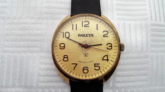 """Raketa Au,""""ROCKET"""" (Raketa), Gold Plated, wristwat"""