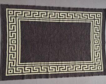 Jarapa (rug) in chocolate color with greca, from Alpujarras, Spain #19