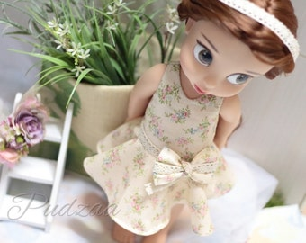 """Doll clothes for Disney Animator doll 16""""/Little flower dress with sweet bow"""