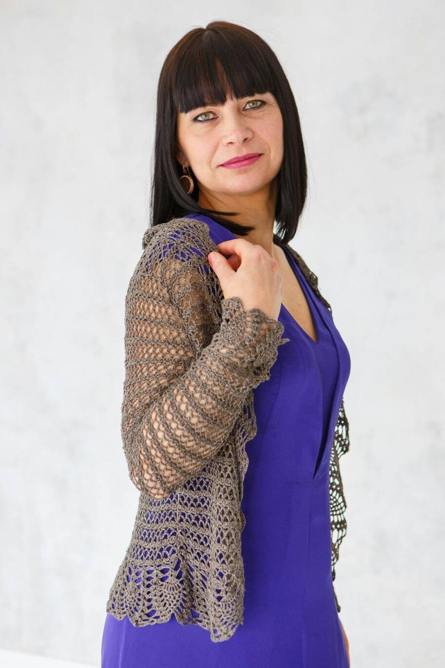 Seide häkeln Frauen Oper Bolero Kaffee braun Boho Stil Luxus | Etsy