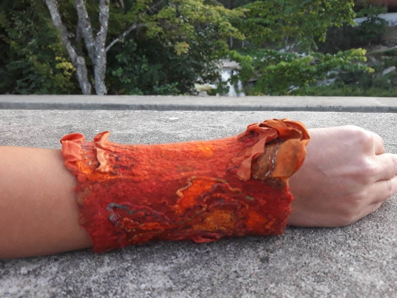 Forest witch orange felted art cuff Fantasy woodland elf arm warmer Romantic fairy tale bracelet.