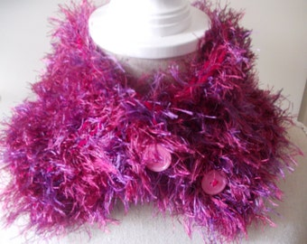 "Button scarf ""pink passion"""