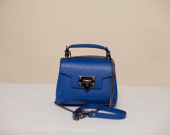 Blue Crossbody Leather Bag