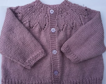 Hand knitted pink cardigan 6m