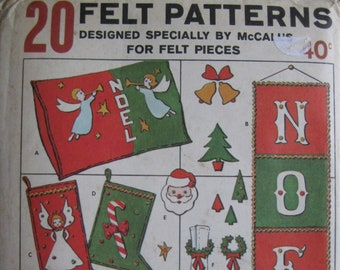 """Free Shipping! NiP Vintage 1960s McCall """"20 FELT PATTERNS"""" Craft & Christmas UNCUT Project Sewing Pattern Purse Pillow Pixie Stocking 1510"""