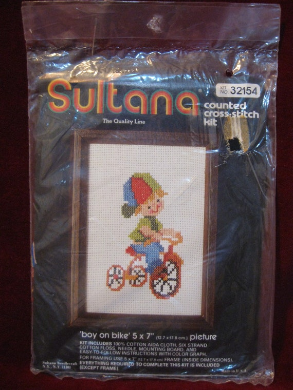 Nip Sultana Boy On Bike 5 X 7 Counted Etsy
