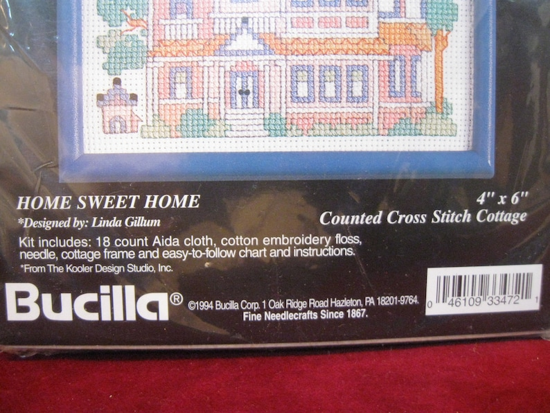 NiP BUCILLA COUNTED COTTAGES Home Sweet Home Counted Cross Stitch Kit Wall Decor #33472 Vintage 1994 Complete wFrame 1477