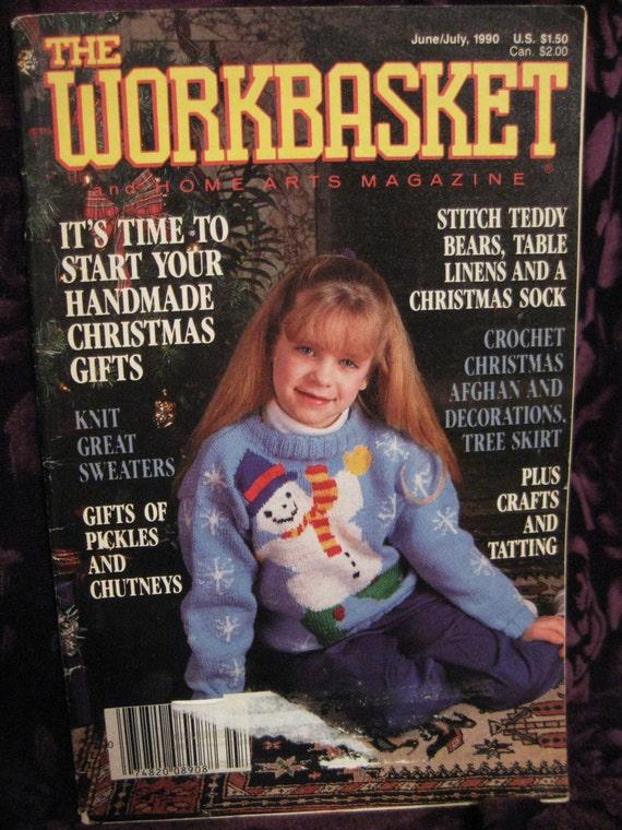 Vintage 1990 Workbasket Magazine Home Art How To Knit Snowman Etsy