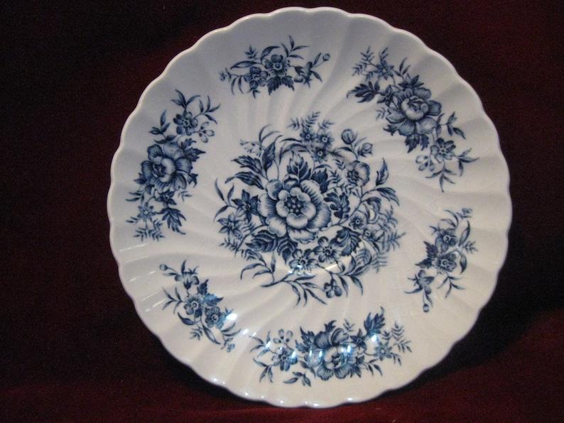 Set5 British Anchor Staffordshire BEACON HILL SAUCER 5.75 Blue Floral Center Rim White Swirl Ironstone Porcelain Vintage 1950 England 1815