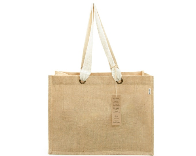 AARU Extra Large and Wide Jute Tote Bag