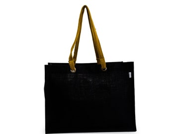 MIWOK Extra Large and Wide Black Jute Tote Bag