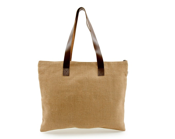 PAZ Jute Tote with Leather Handles