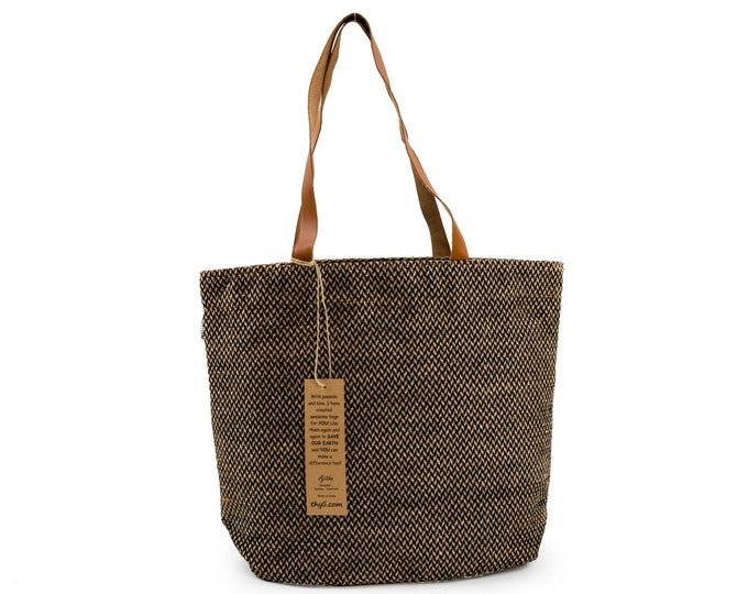PAU Jute Hand Bag with Leather Handles