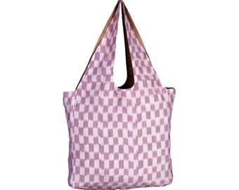 MALETA Handloom Ikkat & Juco Reversible Tote Bag