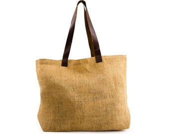 NALA Jute Tote with Leather Handles