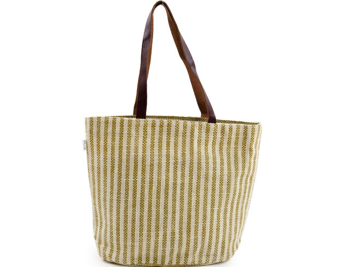 PALOMA Jute Hand Bag with Leather Handles