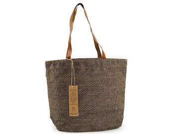 PAU Jute Hand Bag with Leather Handles