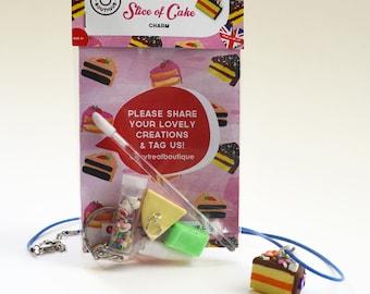 Mini Jewellery Making Kit - Slice of Cake Necklace or Keyring Kit – Party Bag Filler - DIY Craft Kit