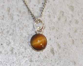 Dainty Tiger eye  Pendant Set in sterling silver 6mm round stone
