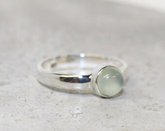 Chalcedony sterling silver 6mm stone ring dainty