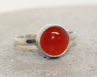 Carnelian Sterling Silver Ring 10mm stone different sizes