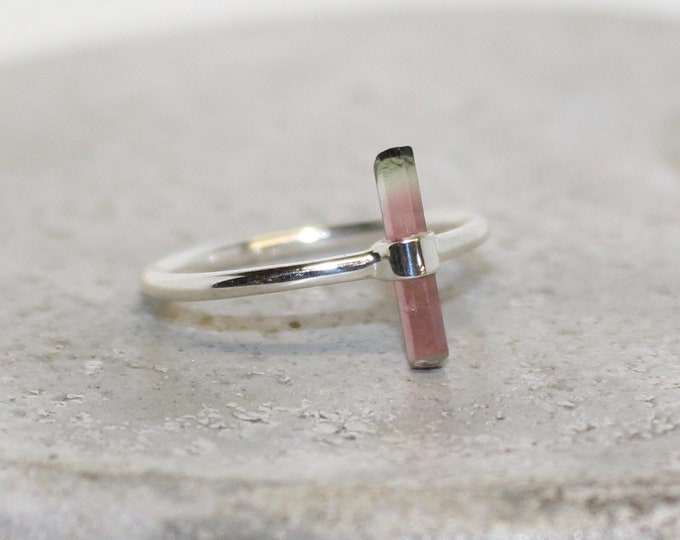 Watermelon Tourmaline sterling silver ring Size 8