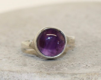 Amethyst Sterling Silver Ring 10mm stone different sizes