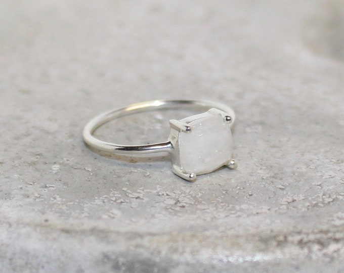 Moonstone sterling silver ring stackable size 7