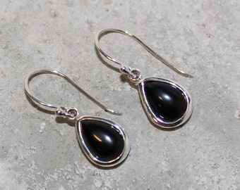 Onyx Sterling Silver Earrings tear drop 10mm long