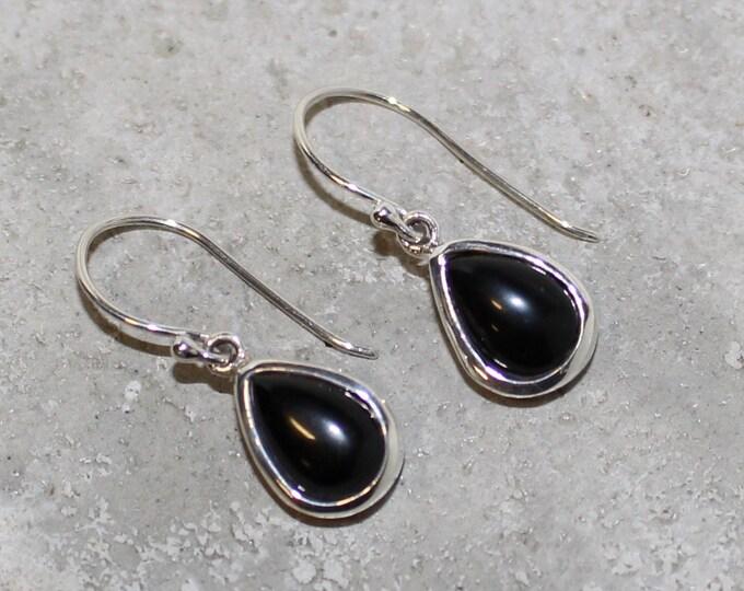 Onyx Sterling Silver Earrings tear drop 10mm long