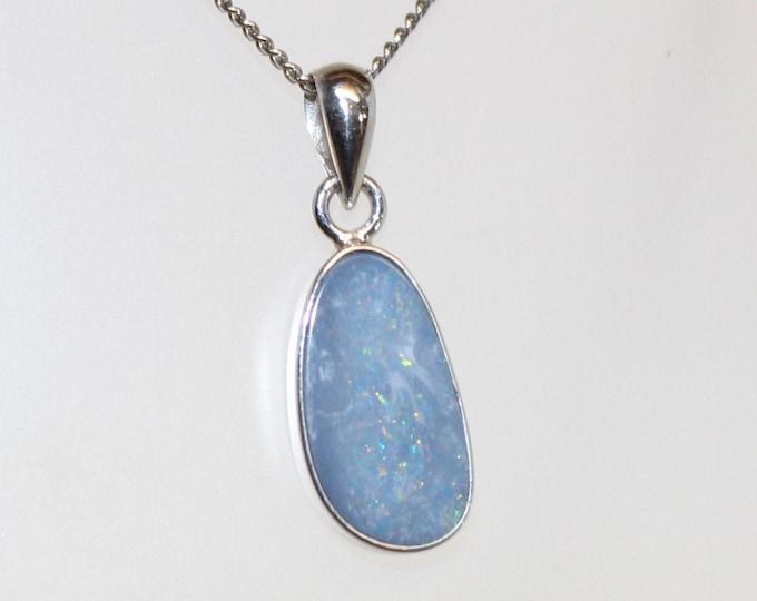 Australian Boulder Opal Pendant set in sterling Silver