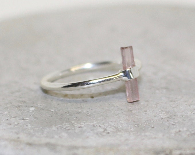 Pink Tourmaline sterling silver ring Size 8