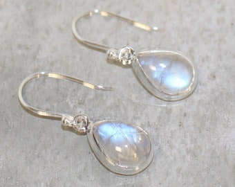 Moonstone Sterling silver earrings Rainbow moonstone