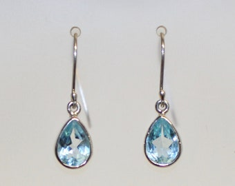 Blue Topaz Sterling Silver Earrings tear drop 10mm long