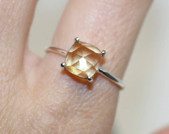 Citrine sterling silver ring stackable