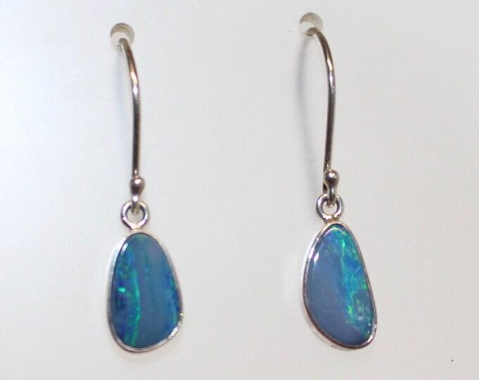 Australian Boulder Opal Earrings Sterling Silver